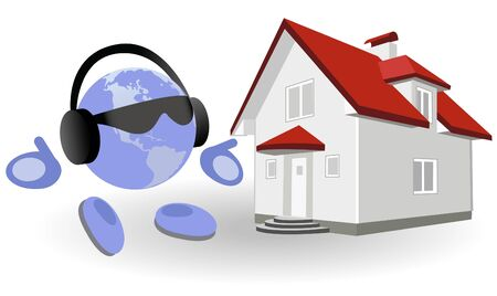 immovable property: The round man and cottage on a white background Illustration