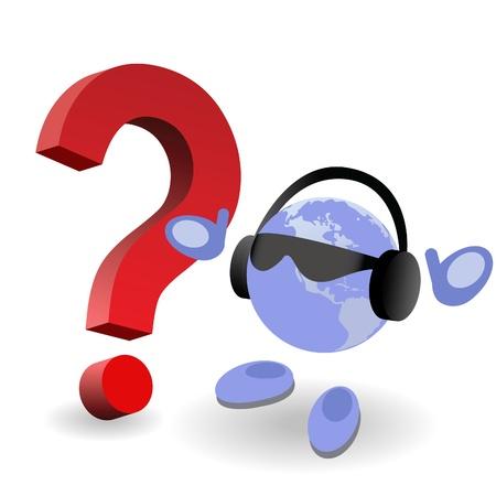 question mark: Der Runde Mann und Fragezeichen auf wei�em Hintergrund Illustration