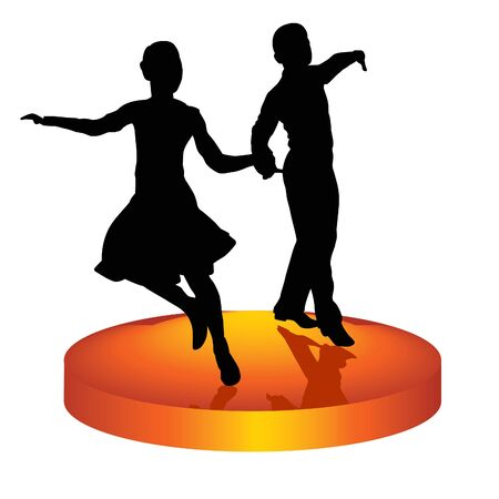 The man and woman dance a waltz