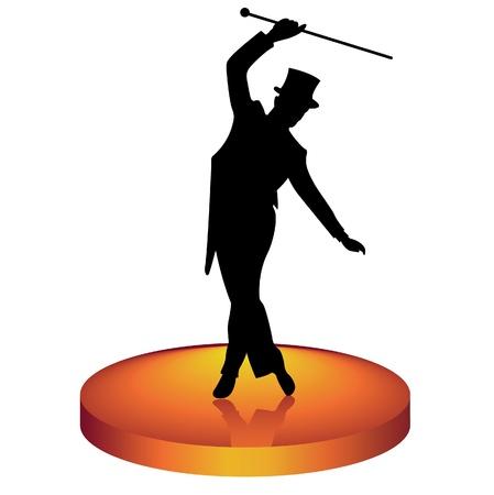 El hombre en un baile de sombrero tap-dancing