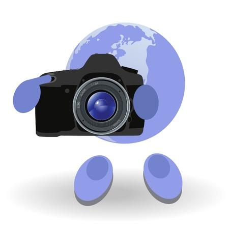 reflex: L'uomo rotondo e macchina fotografica reflex su uno sfondo bianco