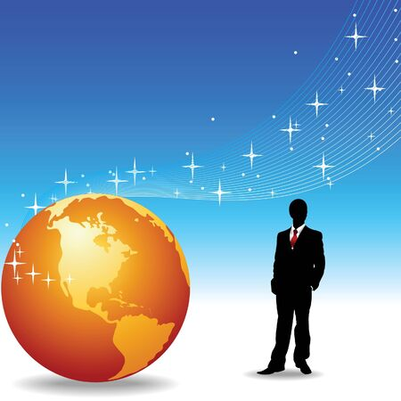 Silhouette of the businessman and Earth on a blue background Vector