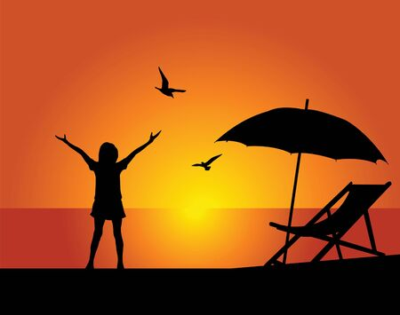 beach umbrella: Silhouette of the girl on a background of the evening sky Illustration