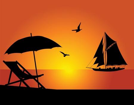flying boat: La playa y el yate sobre un fondo de cielo del noche