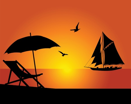 yellow umbrella: The beach and yacht on a background of the evening sky