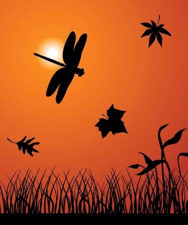 The dragonfly flies among falling leafs Vector