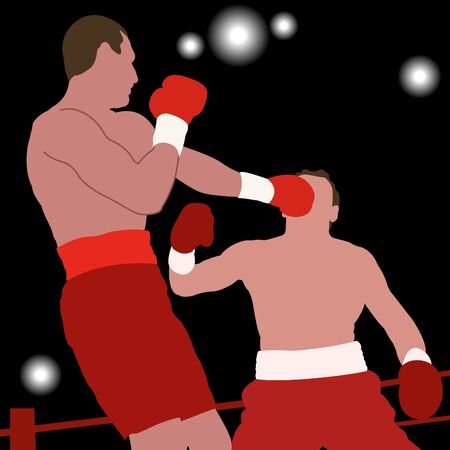 Silhouettes of two boxers on ring. Boxing champion Vector