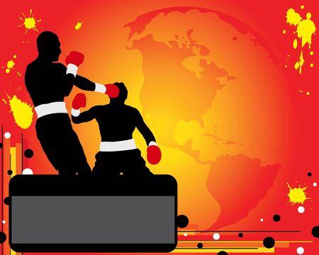 battu: Silhouettes de deux boxeurs sur la bague. Champion de boxe