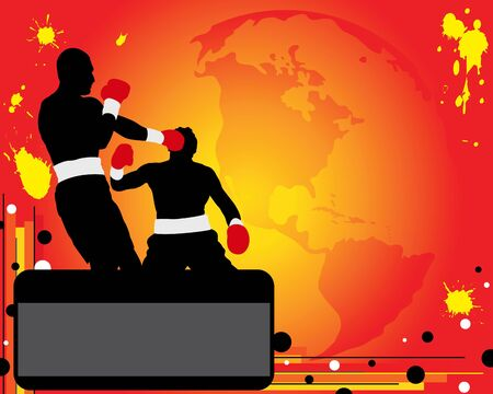 bandwagon: Silhouettes of two boxers on ring. Boxing champion Illustration