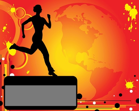 trotter: Silhouette of runner on red background. The advertising