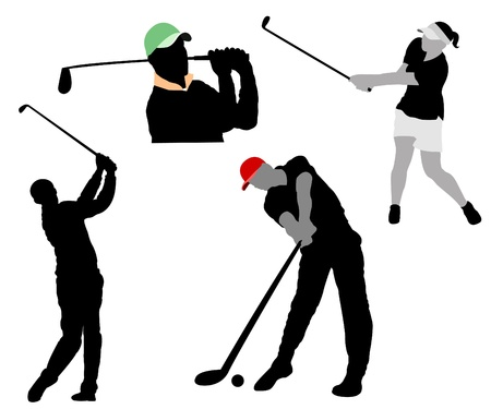 illustrated: Silhouettes of players in a golf on white background