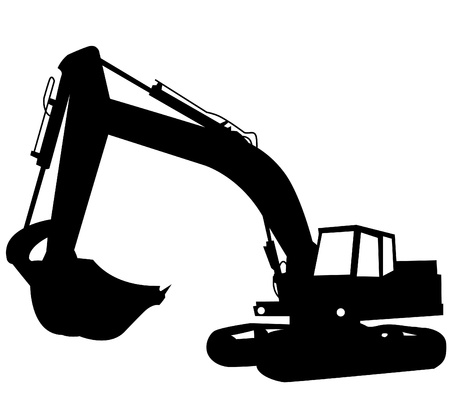 excavator: Silhouette of the excavator. Construction of a building