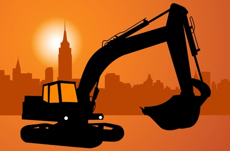 immovable property: Silhouette of the excavator. City and construction