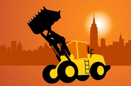 immovable property: City and construction. Silhouette of the bulldozer