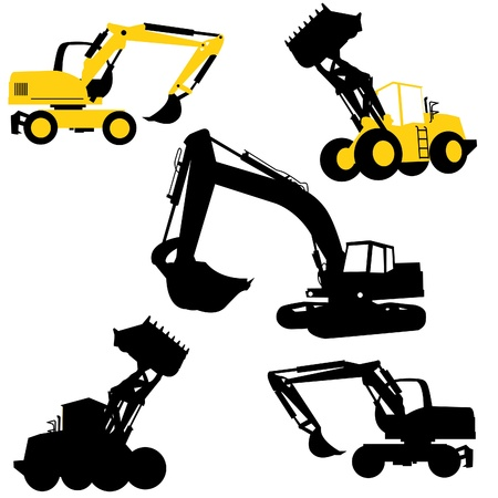 excavate: Silhouette of the bulldozers and excavators. Construction Illustration