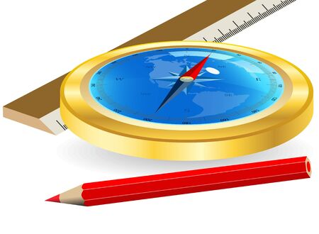 Compass and red pencil on a white background Vector