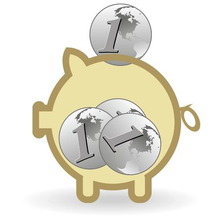 Piggy bank and coin on a white background Vector