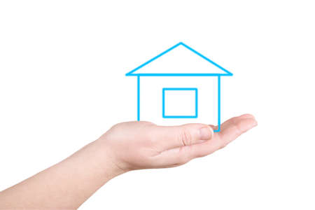 immovable: The house on a palm on a white background Stock Photo