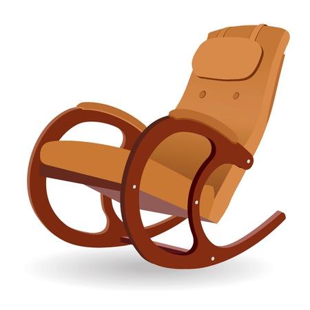 Chaise berçante en bois sur un fond blanc