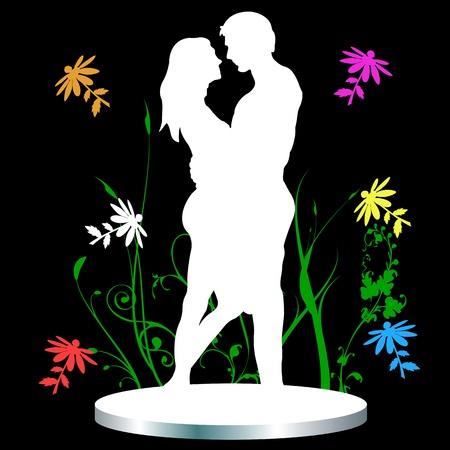 De man en vrouw. Liefde en bloemen Vector Illustratie