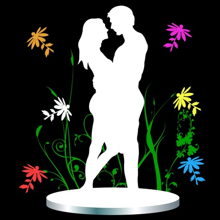 The man and woman. Love and flowers Vector