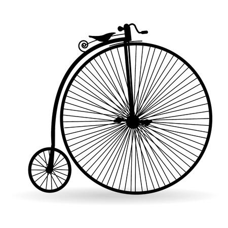 fietsketting: Silhouet van een oude fiets op een witte achtergrond