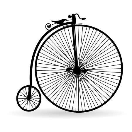 Silhouette of an ancient bicycle on a white background