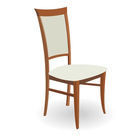 Wooden chair with a shadow on a white background
