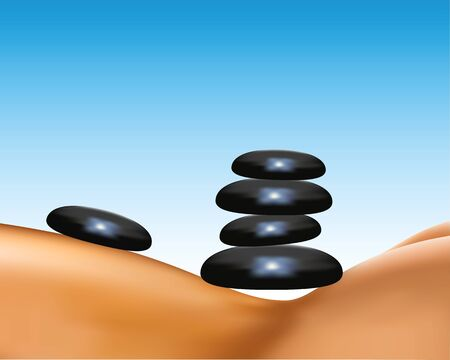 debility: Stones. Spa salon massage hot mineral stone treatment