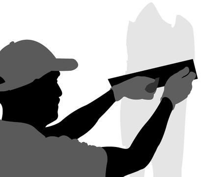 plasterwork: Mature contractor plasterer working indoors