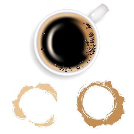 sip: Las manchas de caf�. Taza de caf� de caf� sobre un fondo blanco