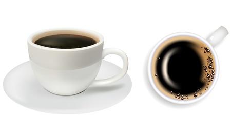 sip: Dos tazas de caf� sobre un fondo blanco. Almuerzo