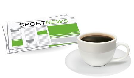 sip: Noticias deportivas. La taza de caf� sobre un fondo blanco