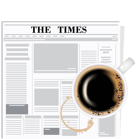 arabica: The newspaper and coffee. The coffee cup on a white background