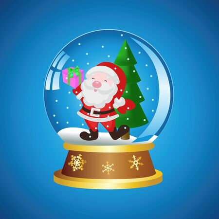Christmas ball with Santa on a blue background Vector