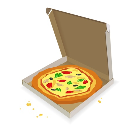 box of pizza: Pizza en una caja de cart�n sobre un fondo blanco