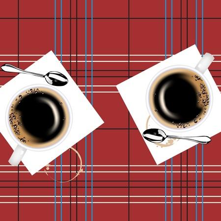 sip: Dos tazas de caf� y dos cucharadas en una peque�a mesa