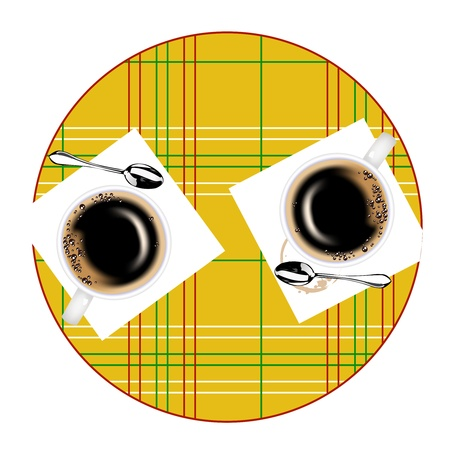 Two coffee cups and two teaspoons on a little table Vector