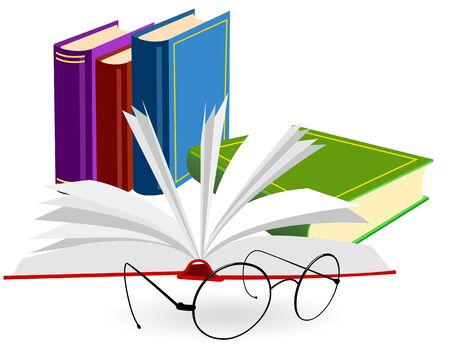 Spectacles and opened book on a white background Vector