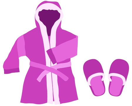 dressing gown: Dressing gown and slippers on a white background