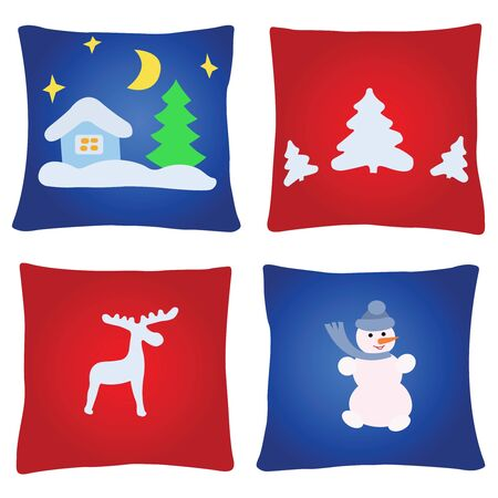Four multicoloured christmas pillows on a white background Illustration