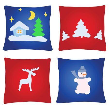 Quatre multicolores oreillers de Noël sur un fond blanc