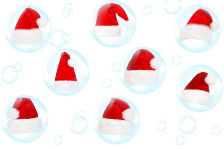 Soap bubble and fur-cap on a white background photo