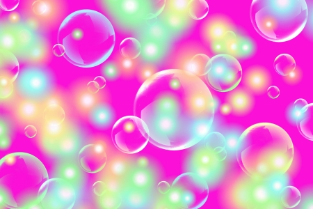 The soap bubbles fly on a multicolored background Stockfoto