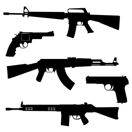 Silhouettes of pistols and submachine gun on a white background