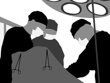 medical assistant: Sala de operaciones y los cirujanos sobre un fondo blanco