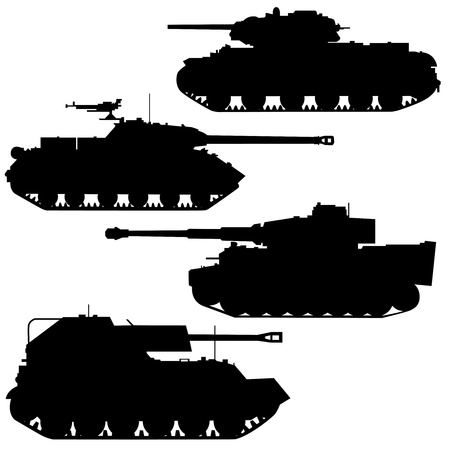 tanque de guerra: Siluetas de equipo militar sobre un fondo blanco