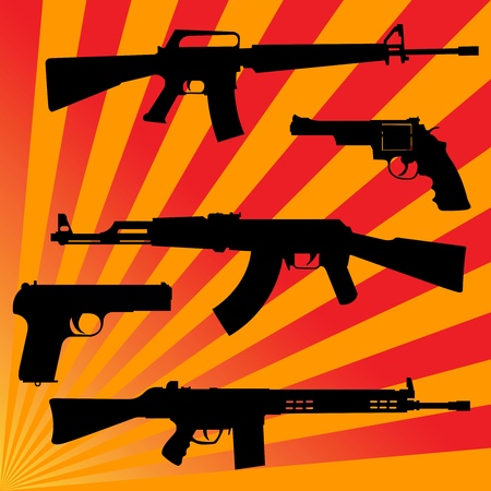Silhouettes of pistols and submachine gun on a red background Vector