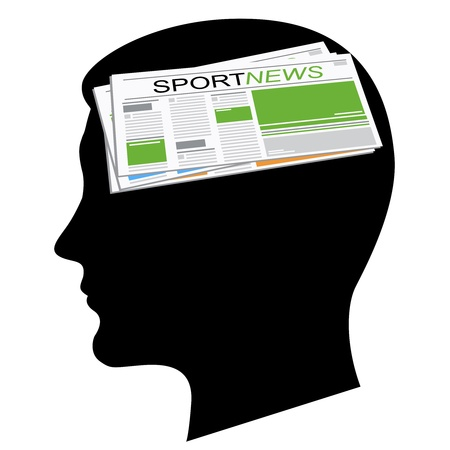 Sport news. A silhouette of a black head Stock Vector - 11624549
