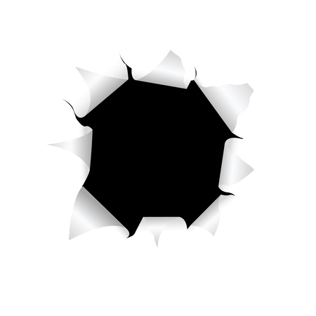 white hole: The black torn hole in a white paper